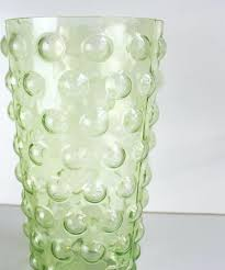 bubble glass vase vintage green glass bubble vase large bubble glass vase