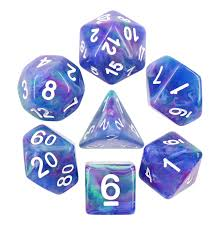 Dice With Lights Northern Lights Polyhedral Dice Set And Bag 7 Piece Swirl D4 D6 D8 D10 D12 D20 Percentile Ttrpg Dungeons And Dragons D D Dnd Tabletop Game