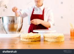 Pastry Chef Wooden Table Kitchen Preparing Stock Photo Edit Now