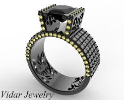 black gold princess cut black diamond ring