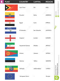 Letter World Letter E Flags Of The World With Name Capital And Region Stock