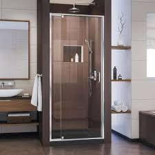 framed pivot shower door in chrome