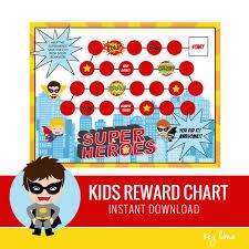Kids Reward Chart Superhero Printable Behavior Chart Routine Chart