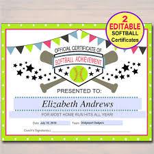 softball award certificate editable softball certificates instant download softball award