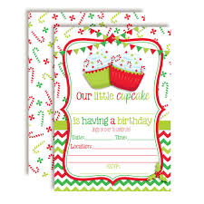 Christmas Birthday Party Invitations Christmas Cupcake Red And Green December Birthday Party Invitations