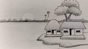 Vẽ tranh đề tài phong cảnh quê hương bằng bút chì | how to draw scenery  with pencil | Tổng hợp những bức tranh đẹp nhất