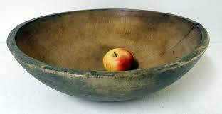 large 19th c sage green wooden bowl w make do