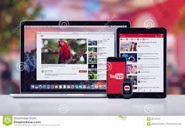 YouTube On The Apple IPhone 7 IPad Pro Apple Watch And Macbook Pro  Editorial Stock Photo - Image of phone, media: 93787503