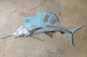 >sailfish metal wall art fish sculpture 48in beach coastal