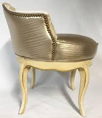 upholstered wood framed french provincial style swivel vanity stool featuring new upholstery seat upholstery