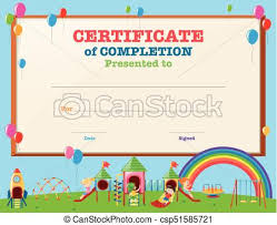Certificate Template With Kids In Playground