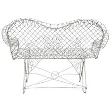 antique white painted wire garden loveseat measures seat height 18