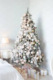 Light Pink And White Christmas Tree Christmas Tree With White And Light Pink Blue Balls And Gift