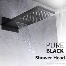 bathroom matte black multi function 2 way rectangular rainfall waterfall in wall 304 sus big rain shower head rainfall shower head waterfull shower head