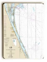 Tide Chart Melbourne Fl Fl Cocoa Cape Canaveral Melbourne Fl Nautical Chart Sign Graphic Art Print On Wood