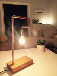 diy pipe lighting. industrial chic diy copper pipe table lamp diy lighting