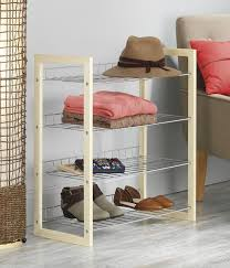 whitmor natural wood and chrome 4 tier closet storage shelves for