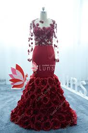 <b>Burgundy</b> Sheer <b>Sleeve</b> Mermaid Rosy Train Prom Dress - Lunss