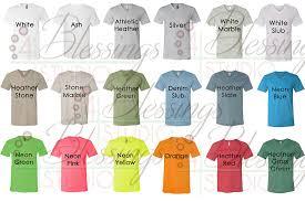 Bella T Shirts Color Chart Bella Canvas 3005 Vneck Color Chart Mockup Every Color Jpeg