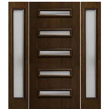 american cherry grain fiberglass contemporary style entry door with five slim horizontal glass panels and two sidelites