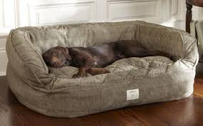Orvis Deep Dish Dog Bed - Large Dogs 60-120 Lbs. Brown Tweed  Casters Fly Shop a