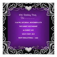 Black And Purple Invitations 40th Birthday Party Black Silver Deep Purple Invitation