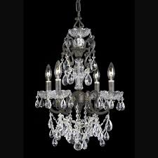 4 lights english bronze crystal chandelier