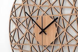 polygonal wall clock wood living room