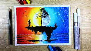 1280x720 how to draw sunset ft moonlight scenery with oil pastel step oil pastel drawing