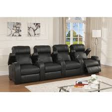 Top Grain Leather Living Room Set Cooper Four Seat Black Top Grain Leather Recliner Home Theater