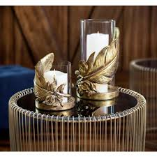litton lane large metallic gold feather candle holder with hurricane glass