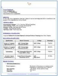 sample resume format for bca freshers bca freshers cv samples and formats freshers resume formats