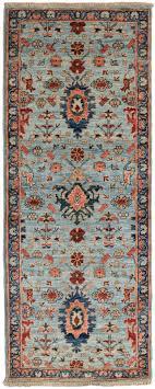 light blue wool short runner rug bakshaish rug