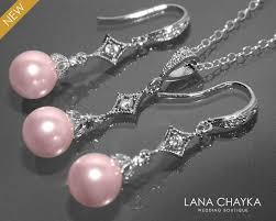 light pink pearl earrings and necklace set sterling silver pink drop pearl set swarovski 8mm pearl jewelry set blush pink small pearl set 39 00 usd