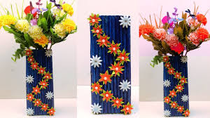 News Paper Flower Vase How To Make Newspaper Paper Flower Vase At Home Newspaper Crafts Flower Vase Best Out Of Waste
