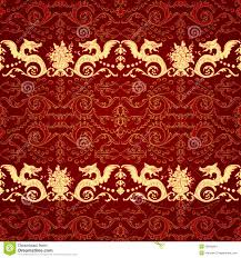 Dragon Pattern Impressive Vintage Seamless Pattern With Dragon Stock Vector Illustration Of