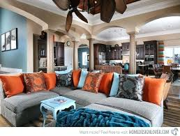 stunning living room designs with brown blue and orange accents not big on the pattern pillows