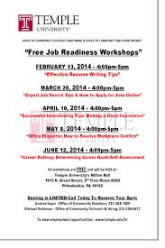 job readiness training workshops temple university spring comunivercity workshops spring 2014 flyer
