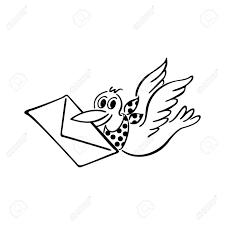 かわいい鳥の提供する手紙輪郭を描かれた漫画