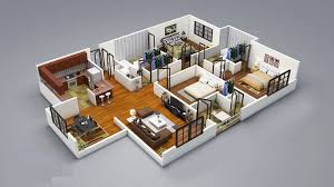Small Picture 3 Bedroom House Plans 3D Design 4 House Design Ideas