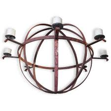 large industrial orb eight candle rustic chandelier