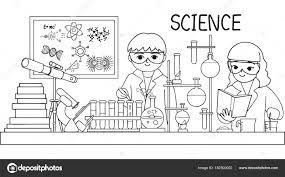 Bambini Svegli Facendo Test Laboratorio Elemento Design Pagina Libro