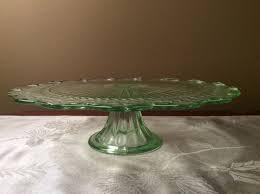 vintage green glass depression 12 pedestal cake stand leaf design euc