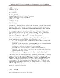 Education Cover Letters For Resumes Early Childhood Education