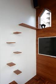 Corner Cat Shelves Set Of Three Two Cat Stairs One Bed Wall Shelves Throughout 72