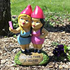 garden knomes. Wonderful Knomes Selfie Sisters Gnome Smoking Inside Garden Knomes
