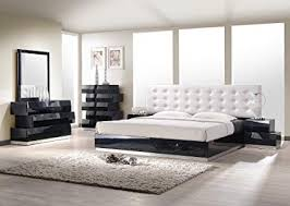 Black modern bedroom sets Kid Black Image Unavailable Amazoncom Amazoncom Jm Furniture Milan Black Lacquer With White Leatherette