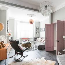 modern living room. Eclectic Modern Living Room With Grey Walls And Pink Doors