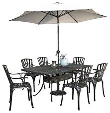 largo 8 piece dining set with umbrella and armchairs