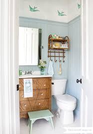 Lettered Cottage Half Bath Makeover Bird Wallpaper Wedgewood Gray1